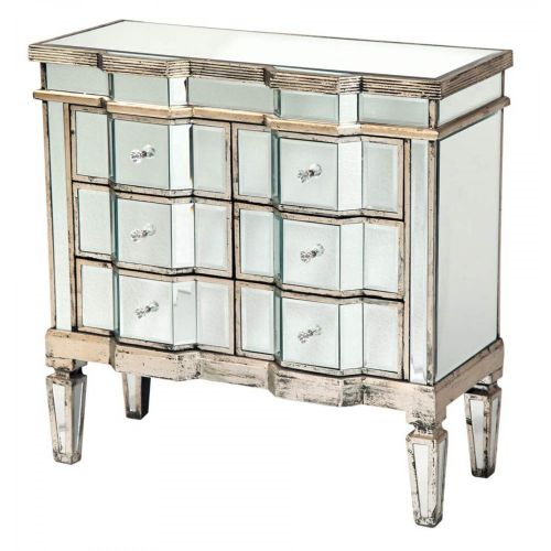 Vintage Venezia Antique Silver Mirrored Distressed Wooden Chest of Drawers